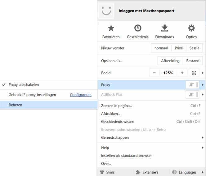HTTP Proxy - Maxthon volledige menu
