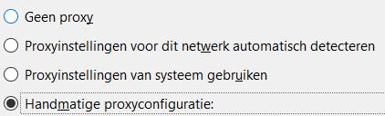 SOCKS5 Proxy - Mozilla FireFox handmatige proxy instellingen selecteren